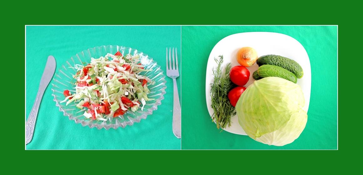 Leichter Sommersalat mit Kohl Gurken Tomaten  Dill