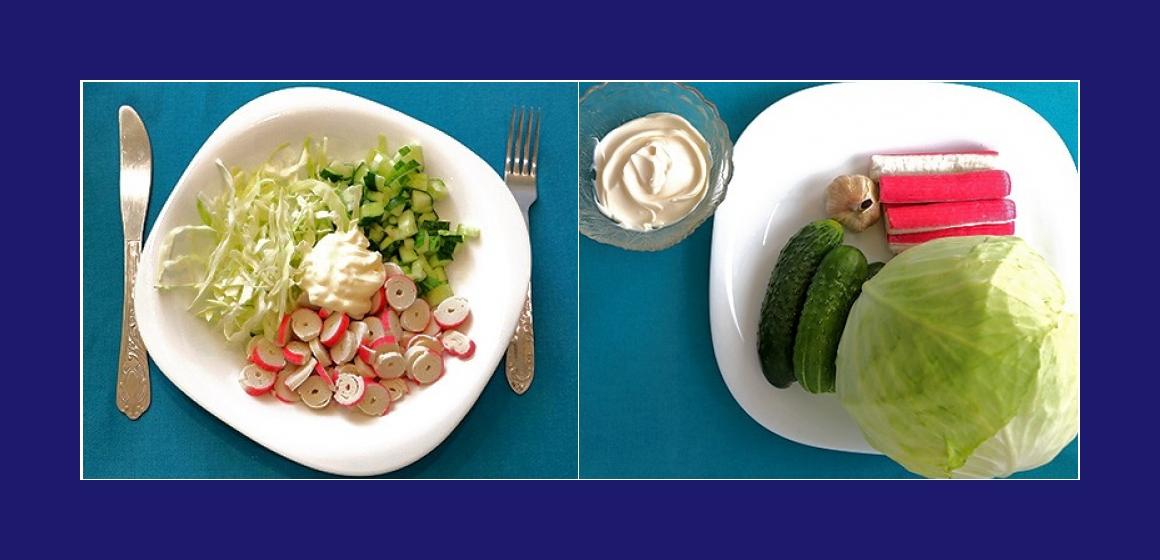 Schmackhafter Kohl-Gurkensalat mit Krabbenstangen  Knoblauch