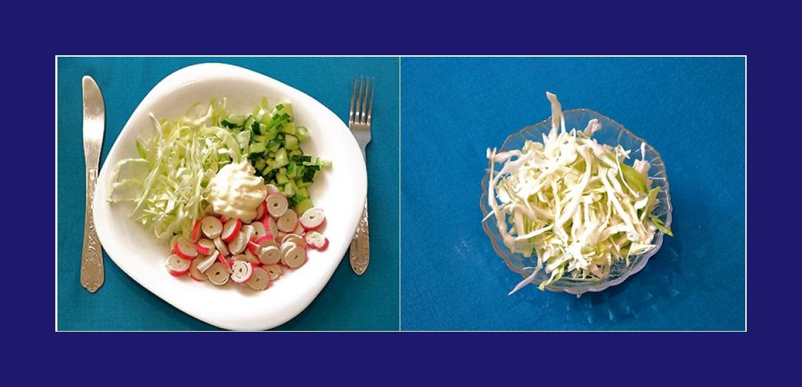 Gemüsesalat mit Krabbenstangen