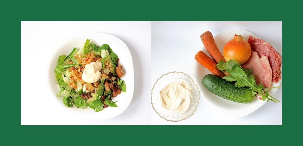 Gemischter Fleischsalat mit Möhren, Gurken, Rukola und Zwiebeln