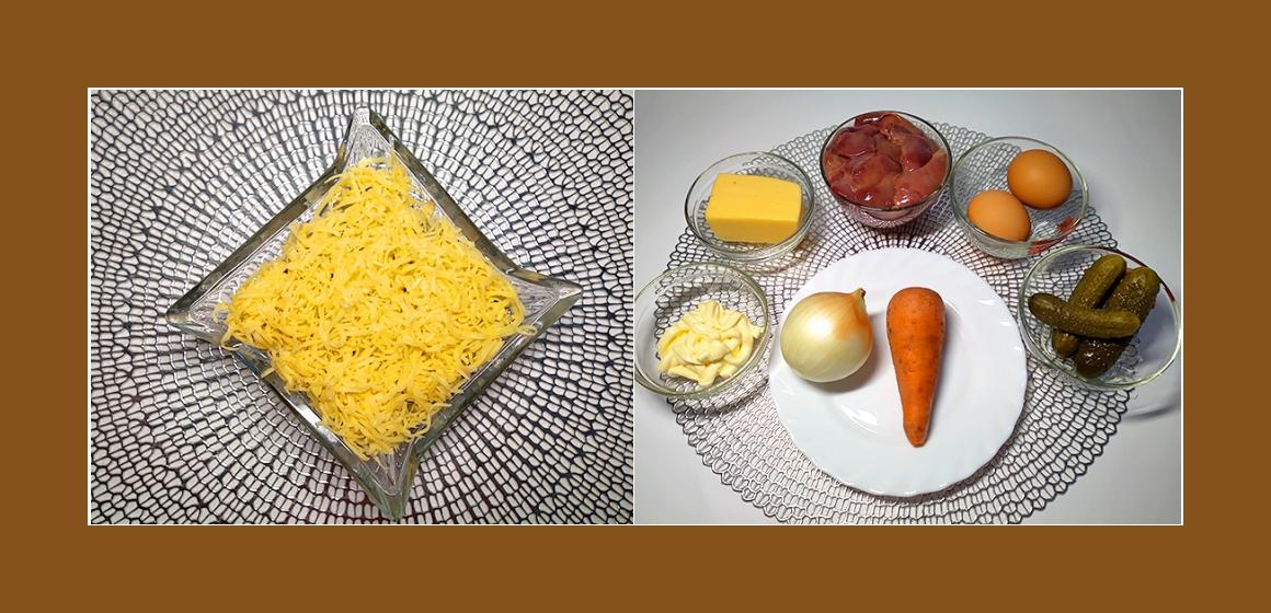 Herzhafter Salat mit Hühnerleber, Gurken, Eiern, Käse, Zwiebel