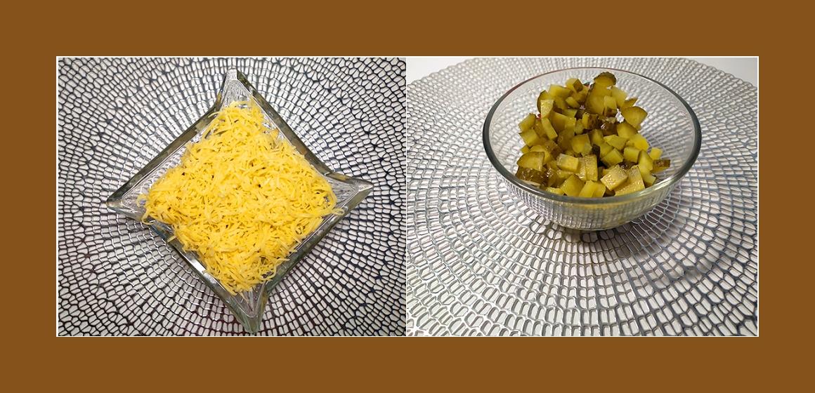 leckerer Salat mit Gurken Eiern Käse