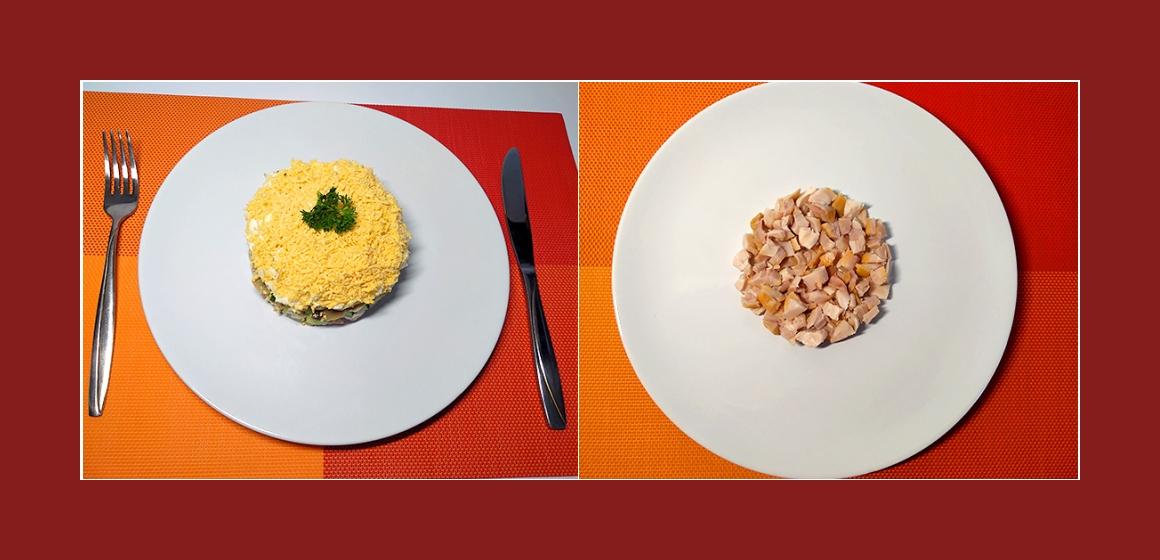 Schichtsalat mit Hühnerfleisch
