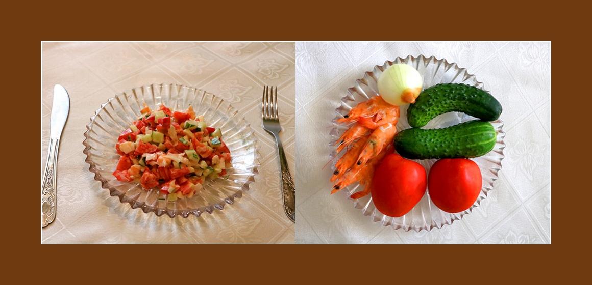 Einfacher Gemüsesalat mit Garnelen