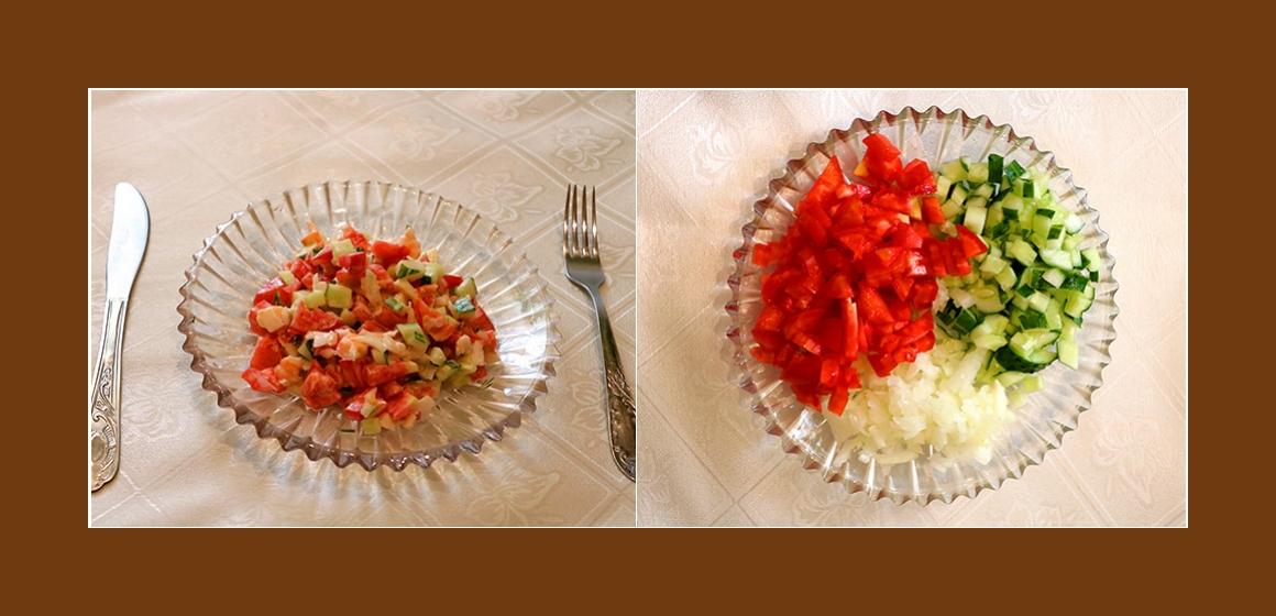 Gurken-Tomatensalat mit Garnelen und Zwiebeln