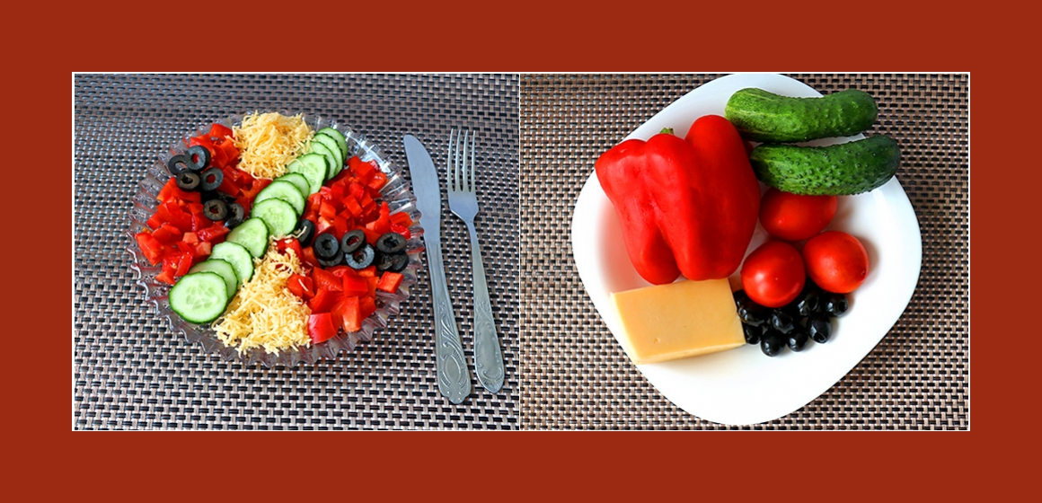 Tomaten-Gurken-Paprika-Salat mit Käse und Oliven