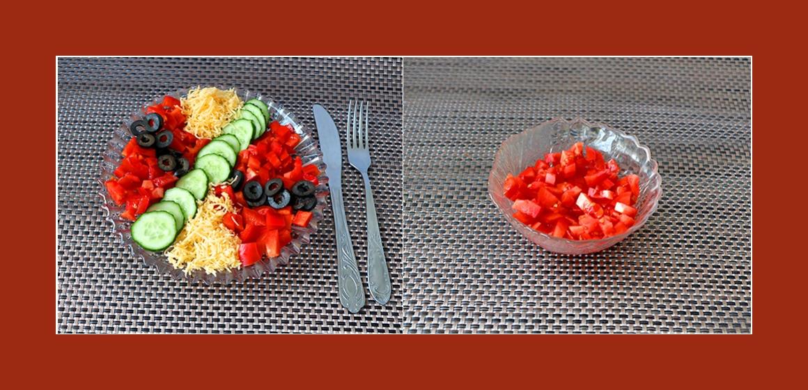 Gemüsesalat mit Käse