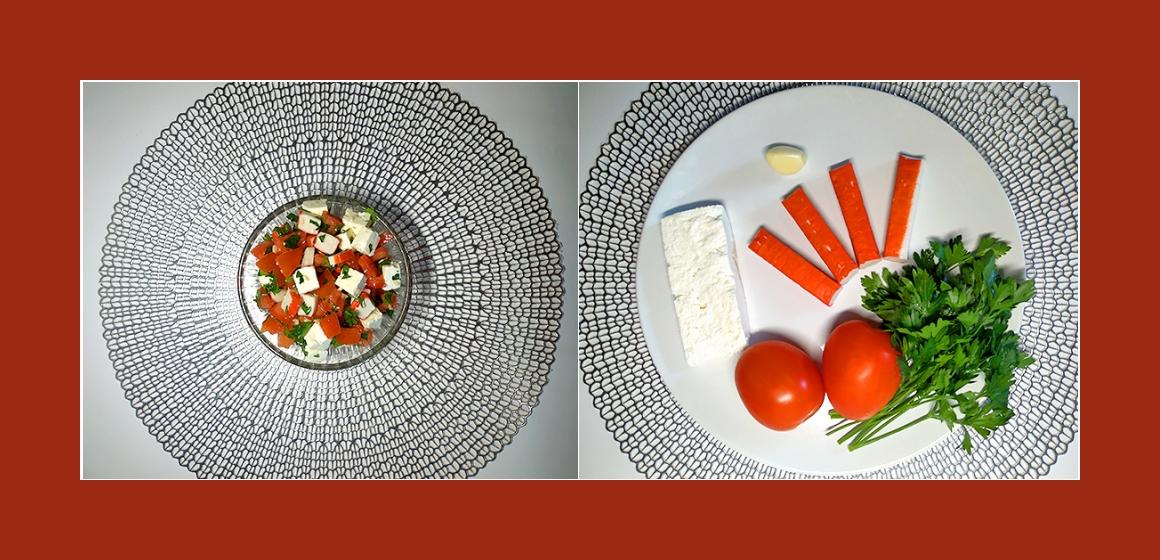 Sanfter Salat mit Krabbenstangen, Tomaten, Knoblauch, Petersilien und Feta