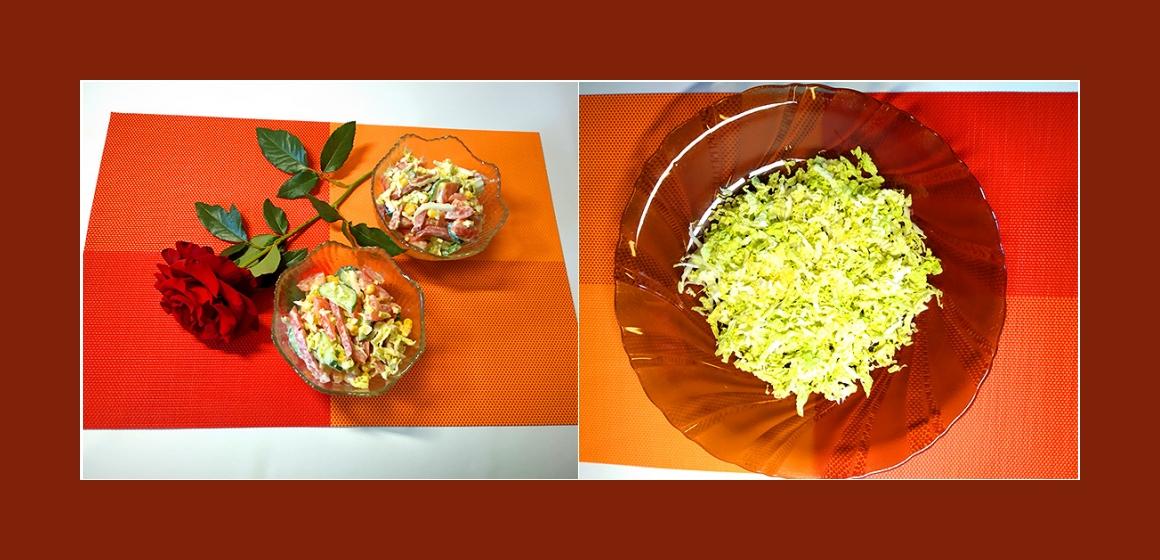Gemüsesalat mit Wurst