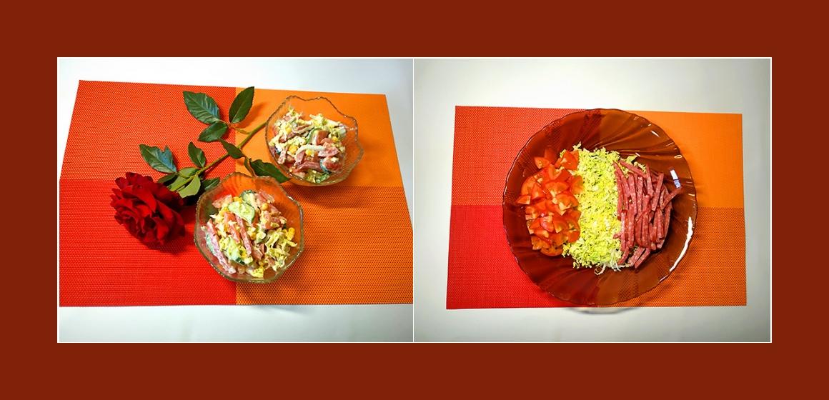 bunter Salat Gem[sesalat mit Wurst