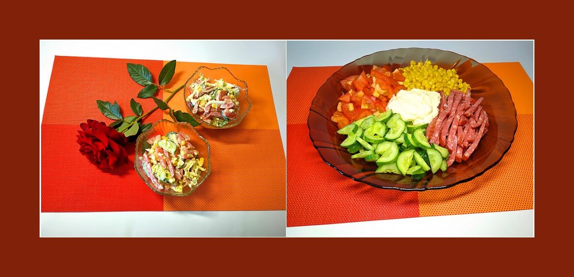 gemischter Gemüsesalat mit Wurst