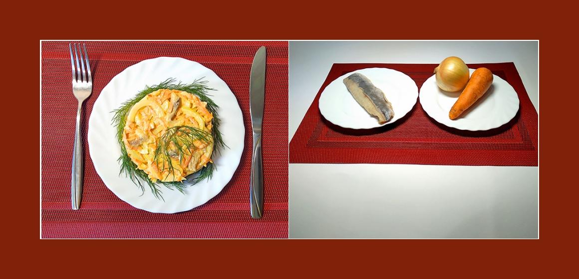 Herzhafter Salat mit Möhren, Zwiebeln und Hering