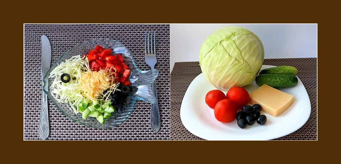 Sanfter Kohl-Gurken-Tomaten-Salat mit Käse und Oliven