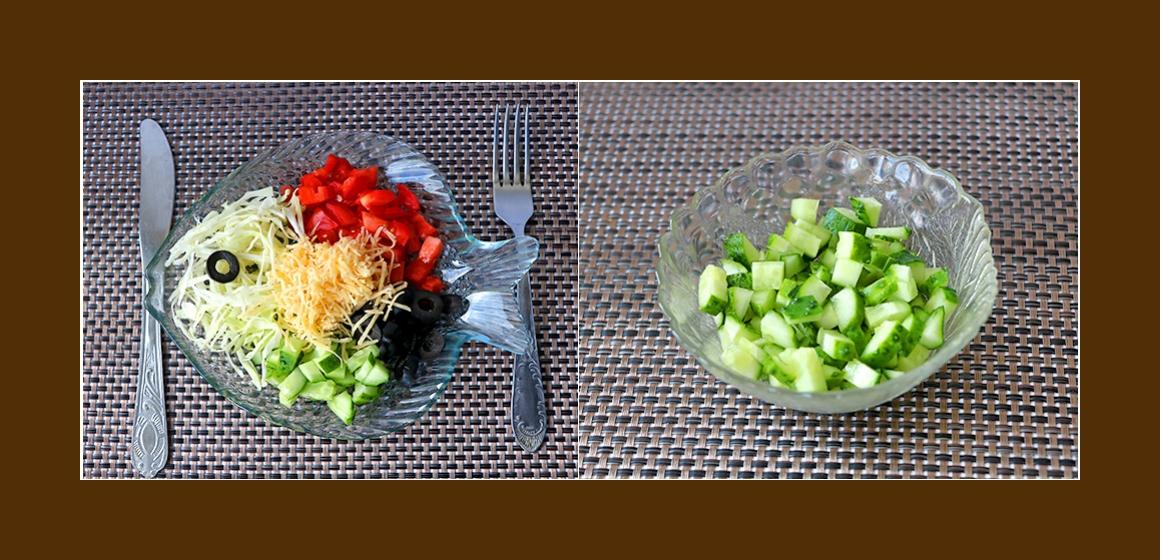 leichter Gemüsesalat mit Käse