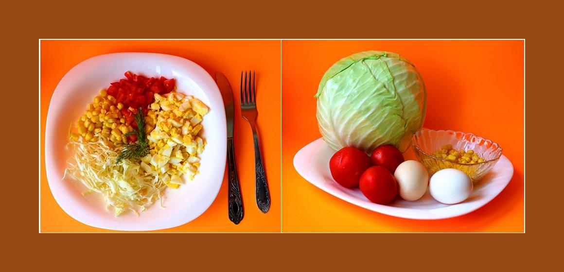 Leichter Kohl-Tomaten-Salat mit Eiern und Mais