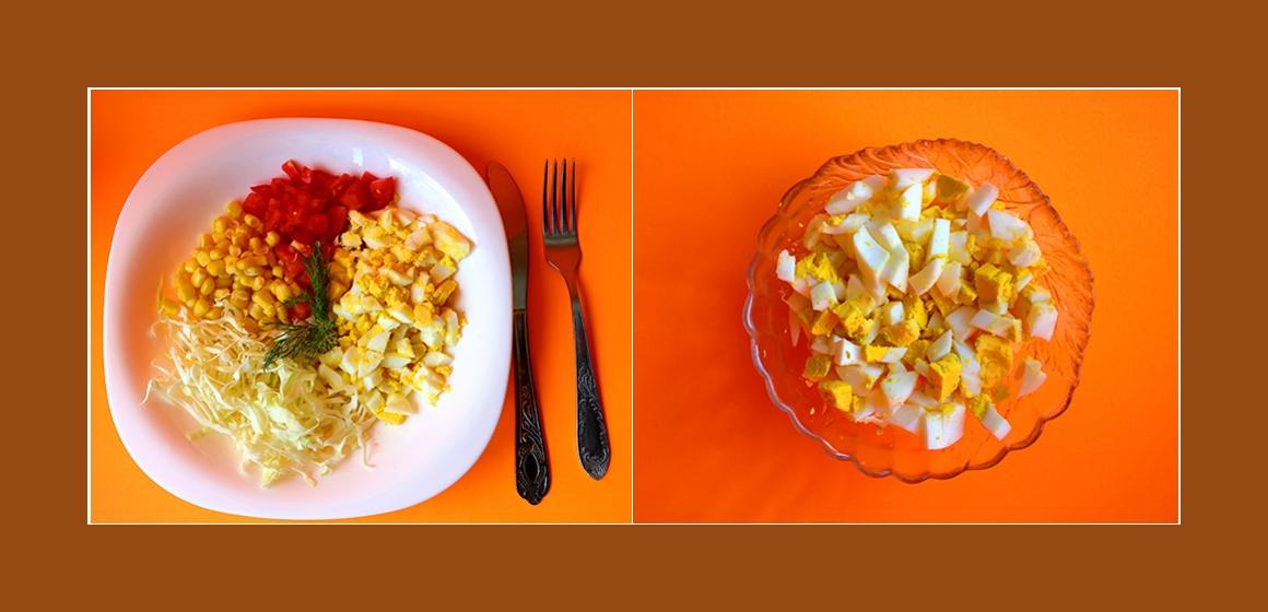 Salat mit Eiern Gemüsesalat
