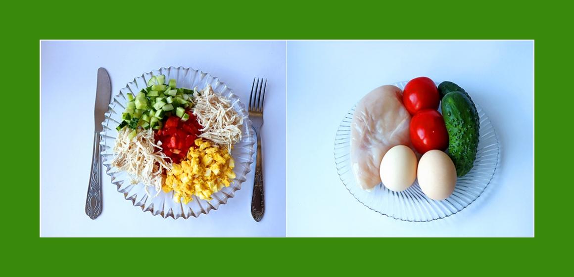 Gemischter Tomaten-Gurken-Salat mit Eiern und Hähnchen