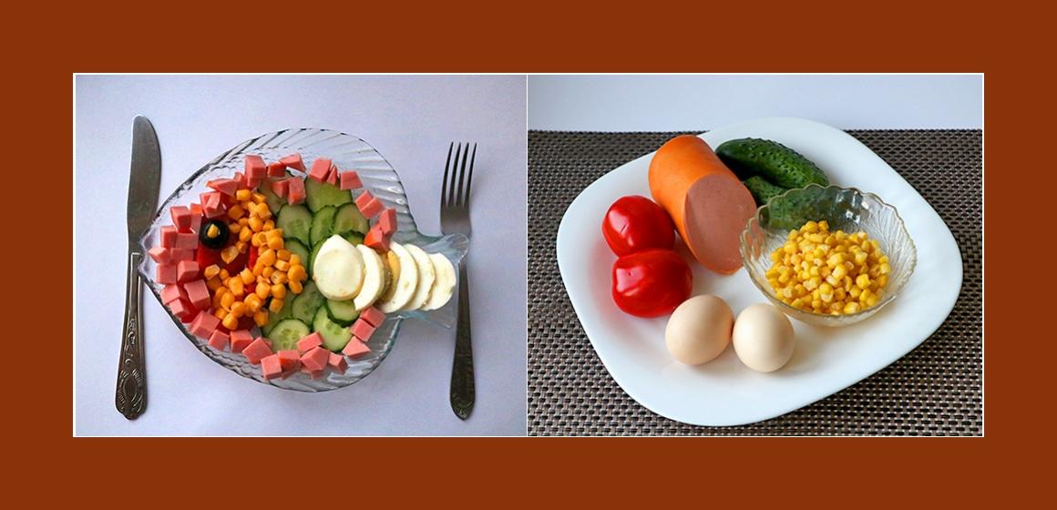 Einfacher Tomaten-Gurken-Salat mit Eiern, Mais und Wurst