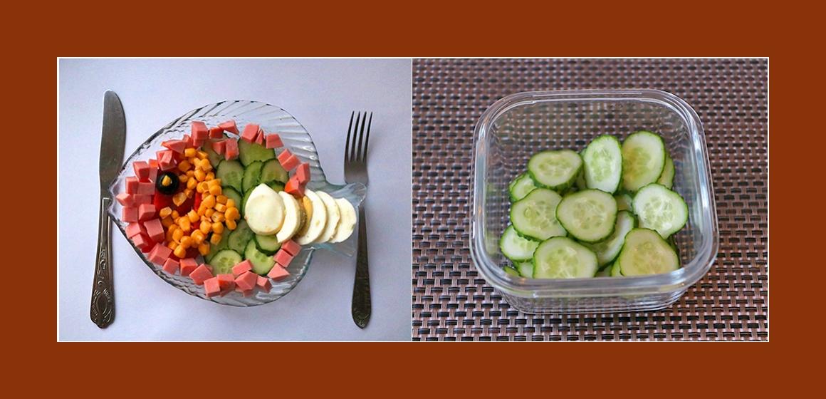 Tomaten-Gurken-Salat mit Wurst