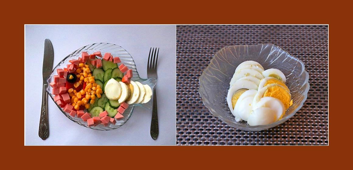 gemischter Salat mit Mais und Eiern