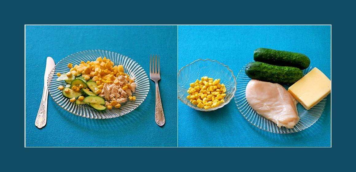 Gemischter Hähnchen-Käse-Salat mit Mais und Gurken