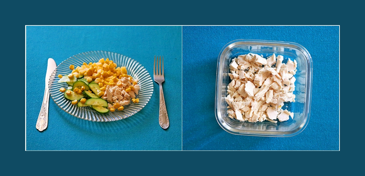 einfacher Salat mit Käse Hähnchen