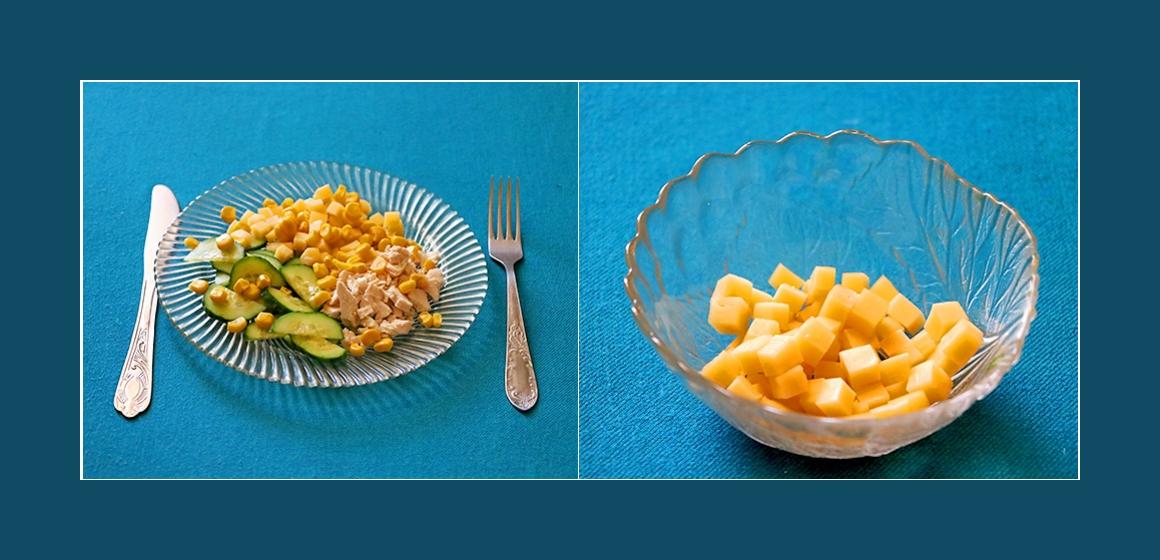 Käse-Hähnchen Salat mit Gurken Mais