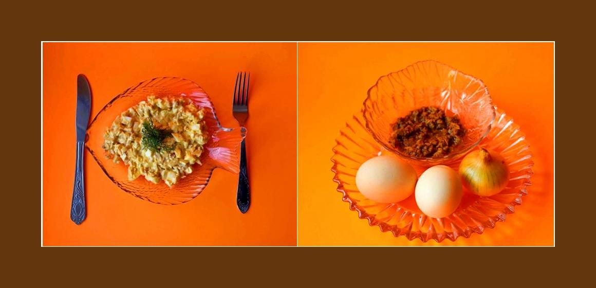 Sanfter Salat mit Thunfisch, Eiern und Zwiebeln