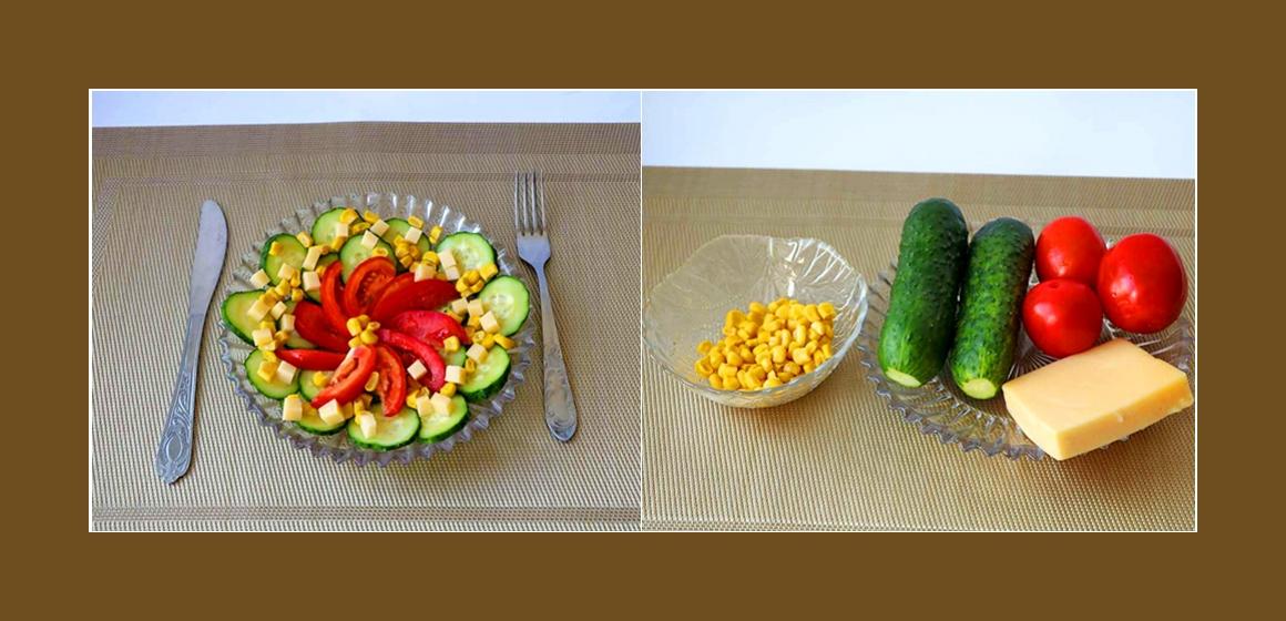Tomaten-Gurken-Salat mit Käse und Mais