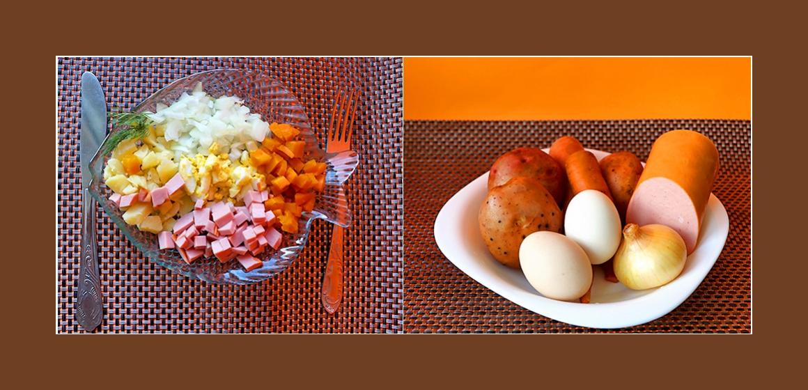 Einfacher Kartoffel-Eier-Möhren-Salat mit Wurst und Zwiebeln