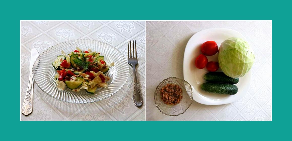 Einfacher Gemüsesalat mit Thunfisch