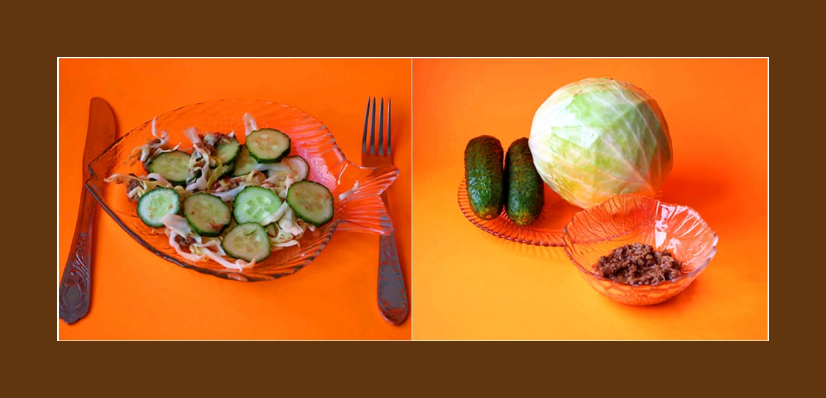 Frischer Kohl-Gurken-Salat mit Thunfisch