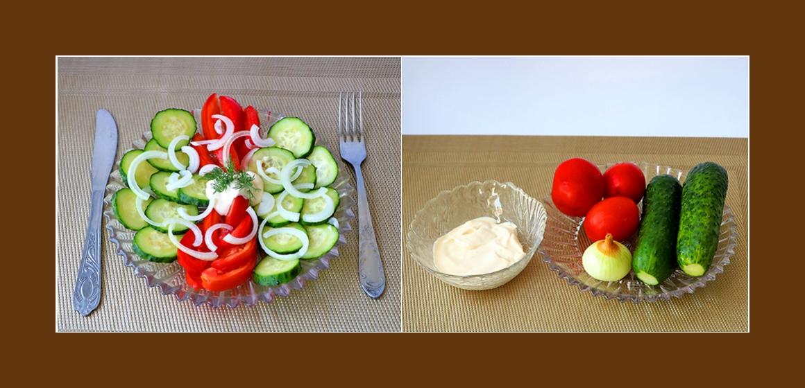 Frischer Tomaten-Gurken-Salat mit Zwiebeln und Sahne