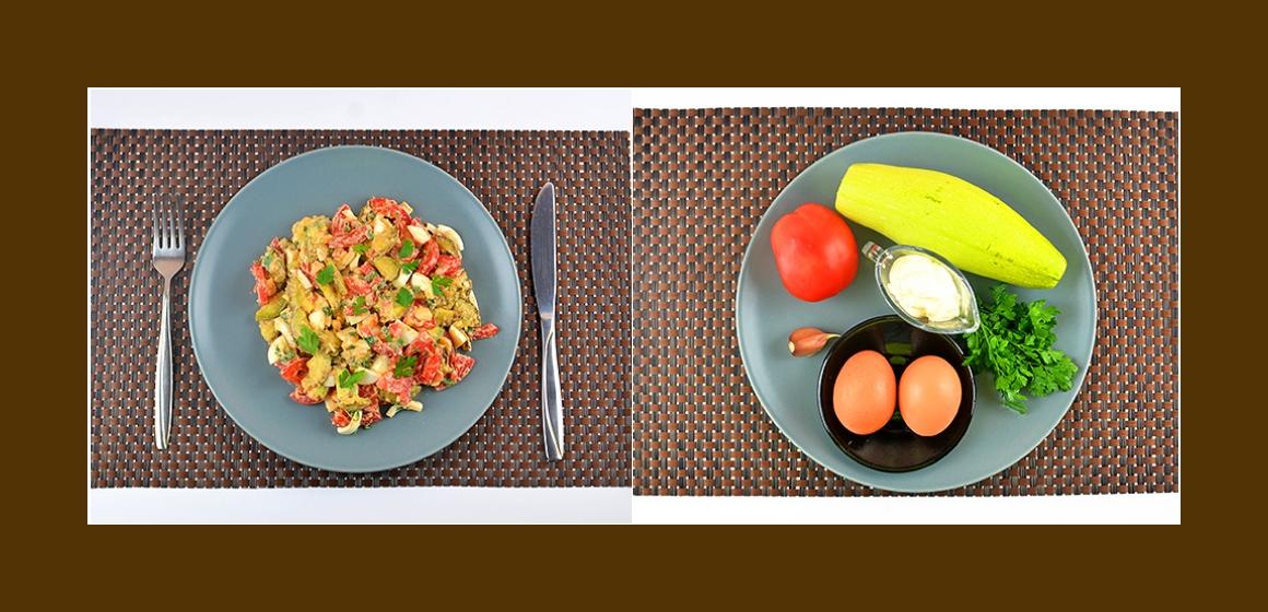 Gemischter Salat mit Auberginen, Tomaten, Eiern und Petersilien