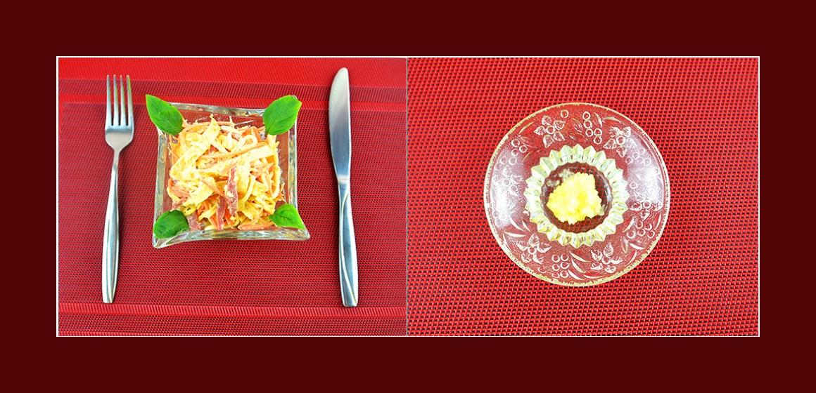 Salat mit Knoblauch Käse Wurst