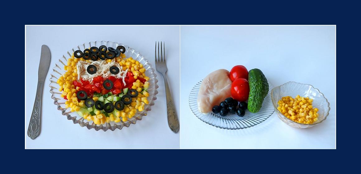 Frischer Tomaten-Gurken-Mais-Salat mit Oliven und Hähnchen