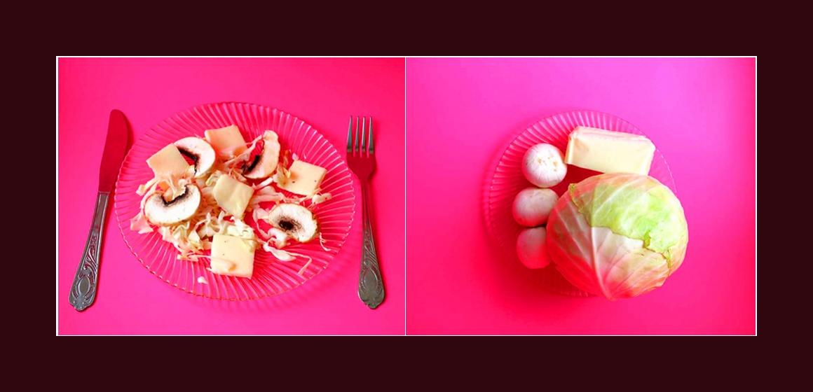einfacher Salat mit Weißkohl, Champignons, Käse