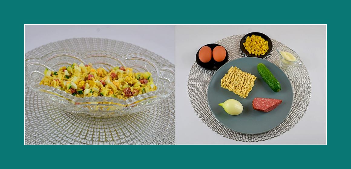 Leckerer Nudelsalat mit Wurst, Eiernm Gurken, Mais und Zwiebeln