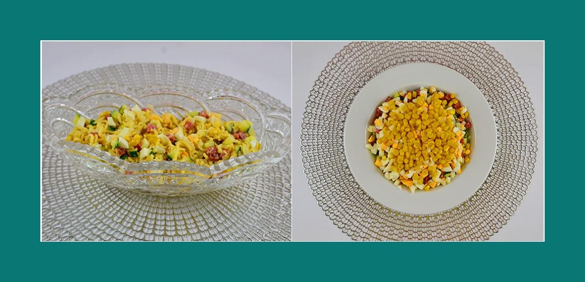 Mais-Gurken-Eier-Nudelsalat
