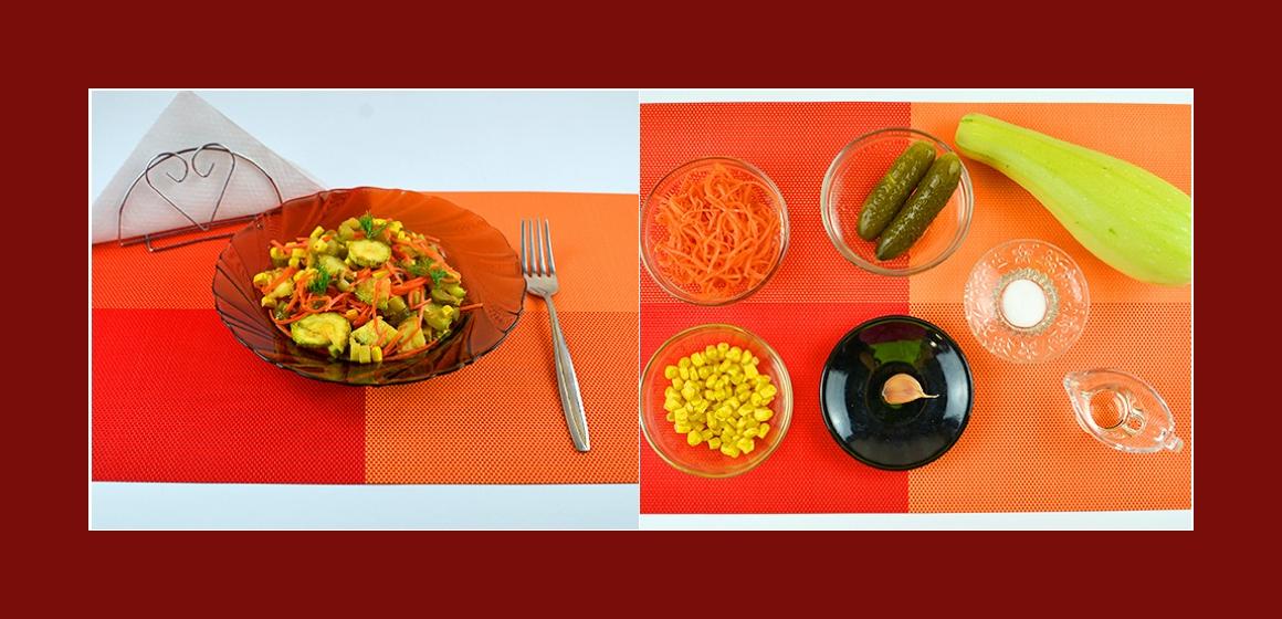 Bunter Gemüsesalat mit Zucchini, sauren Gurken, Möhren, Mais und Knoblauch