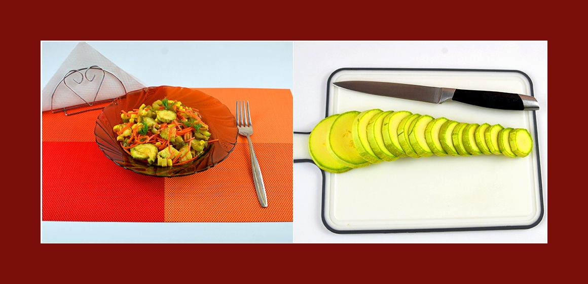 Zucchini-Möhren-Gurken-Mais-Salat