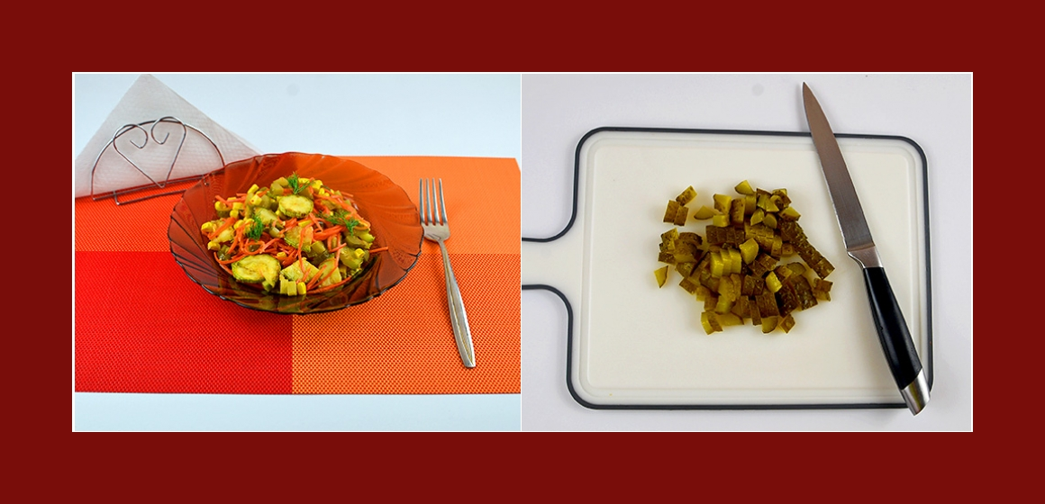 Gurken-Möhren-Zucchini-Salat mit Mais und Knoblauch