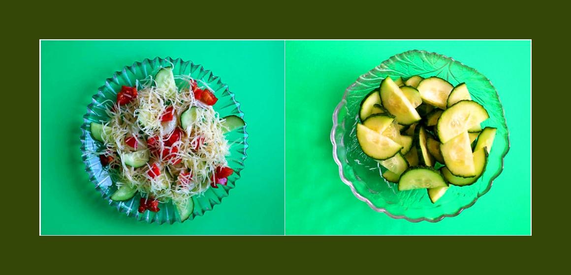 Gurkensalat Nudelsalat mit Käse