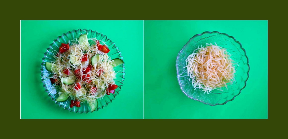 einfacher Salat mit Käse Gemüsesalat Nudelsalat