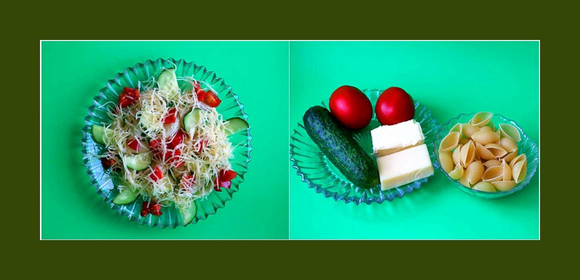 Einfacher Nudelsalat mit Gurken, Tomaten und Käse