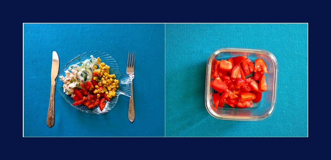 Hähnchensalat mit Tomaten und Mais