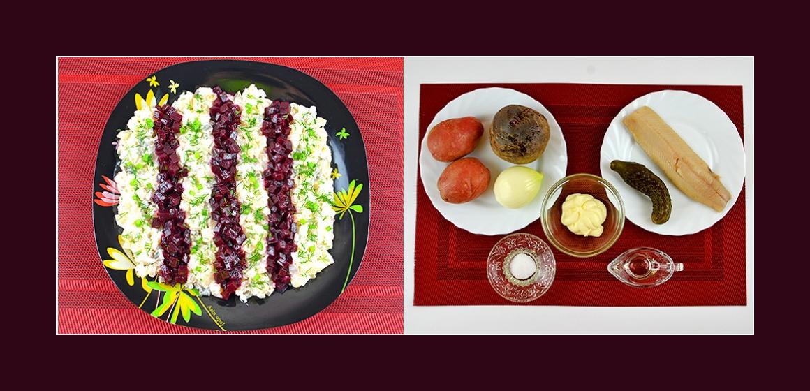 Schmackhafter Kartoffel-Rüben-Salat mit sauren Gurken, Zwiebeln und Hering