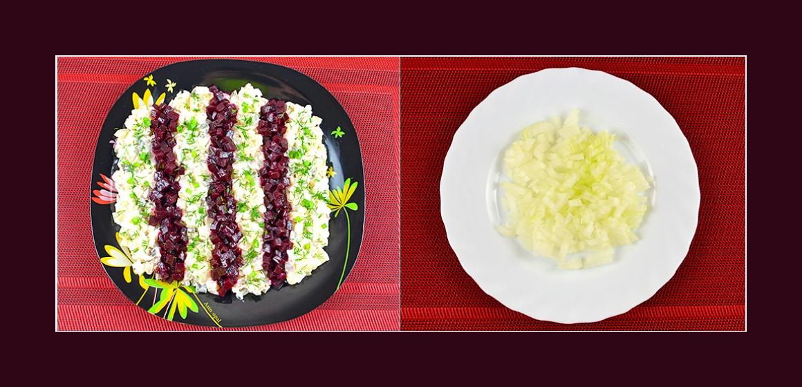 Salat mit Zwiebeln und Mayonnaise