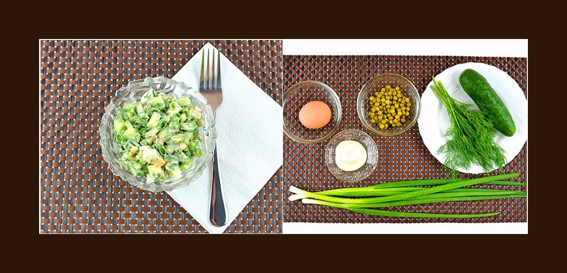 Frischer Gurken-Erbsen-Salat mit Eiern, Dill und Schnittlauch