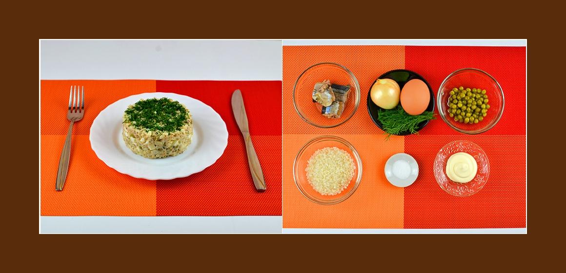 Schmackhafter Schichtsalat mit Sardinen, Reis, Erbsen, Eiern, Zwiebeln und Dill